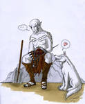 A Pale Orc astride a White Warg... by Simati