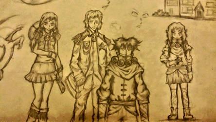 girl boy cowboy and ninja sketch by needformang