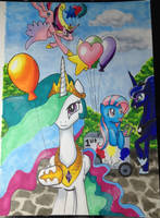 Balloons and Princesses Commission by CatScratchPaper