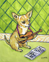 Chihuahua Playing guitar by jSchmetz