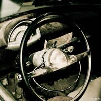 Inside a very old car by flepi
