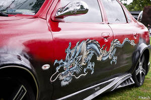 Over side of the lady car with dragon by flepi