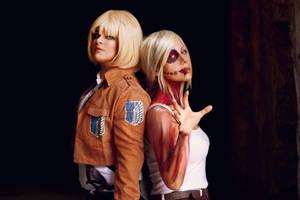 Armin Arlert and Annie Leonhardt by ImNotMizu