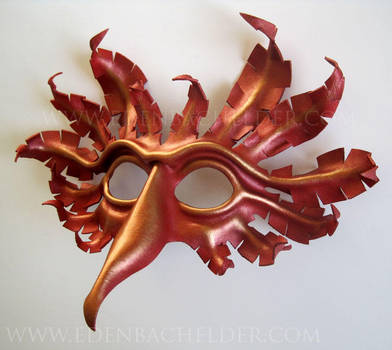 Firebird leather mask, scarlet and gold, phoenix by shmeeden