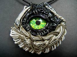 Evil eye wire wrapped polymer clay pendant by dogzillalives