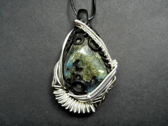 Labradorite wire wrapped polymer clay pendant by dogzillalives