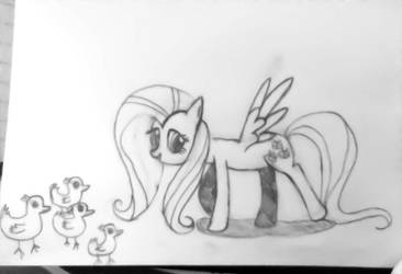 Day 13: Fluttershy leads some ducklings by Flicker-chan