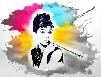 Audrey Hepburn - watercolor - pop art by p4trycha