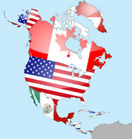 North America Flag Map by lg-studio