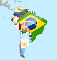 South America Flag Map by lg-studio