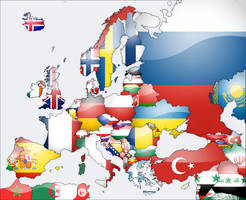Europe Flag map by lg-studio