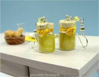 Lemon Marmelade Bottle Earrings by AlexandraKnickel
