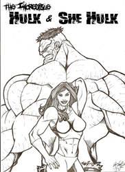 Hulk and She Hulk back to back by TheTrueFoldedSteel