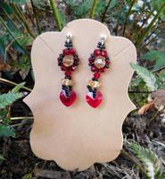 Fancy Crystal Hearts Earrings by FeynaSkydancer
