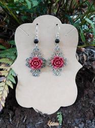Rose Red Earrings by FeynaSkydancer