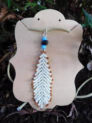 Beaded Feather Pendant by FeynaSkydancer