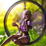 Good fairy with fairy swing - Fantasy Art by G-abi-K