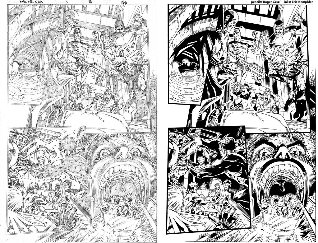X-Men First Class 3 pg 16 ink practice SideBySide by EricKemphfer