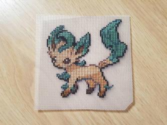 Leafeon Cross Stitch by EliStitching