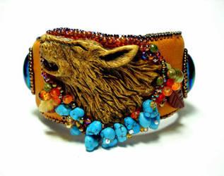 Howling Wolf beaded cuff bracelet by ElysianField