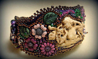 Enchanted Garden bead embroidered cuff by ElysianField