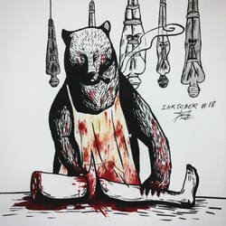 Inktober #18 - Filthy/The Bear/All Tied Up by tirmesaito