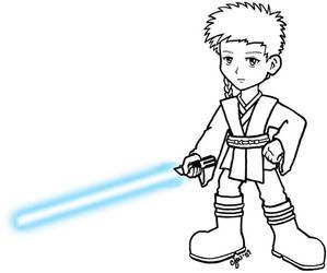 Chibi Anakin lineart by myopicbluebird