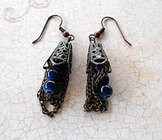 Sold out: Steampunk Chain and Bead Earrings by random-wish