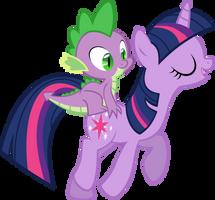 Spike Rides On Twilight by IAmADinosaurRARRR