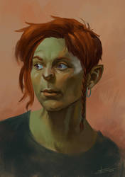 Female orc quick portrait (video in description) by Toramarusama