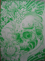 skull and peony flowers by AsatorArise