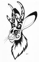 Inktober: Jackalope by Skychaser