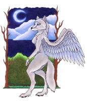 Winged wolf request by Skychaser