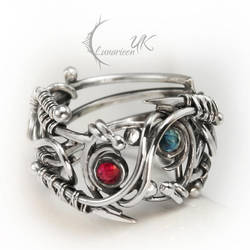 ENTILMARX - silver , ruby and topaz (ring ) by LUNARIEEN