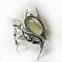 ANTURDIALH  - silver , green moonstone , onyx by LUNARIEEN