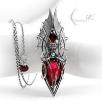 VYCTHULS - silver, red quartz by LUNARIEEN