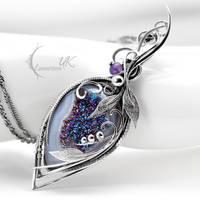 GLACIRIUSS - Silver, Druzy Agate, Amethyst. by LUNARIEEN