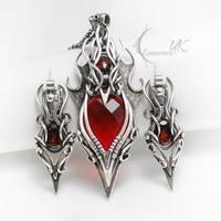 EYRGRASH - silver , red quartz and garnet by LUNARIEEN