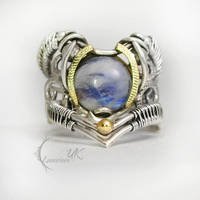 YNNARTH silver, 18 ct yellow gold , moonstone. by LUNARIEEN
