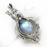 AELTRIEELH Silver and Rainbow Moonstone by LUNARIEEN
