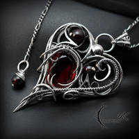 ETHAXART, Silver, Red Quartz and Garnets. by LUNARIEEN
