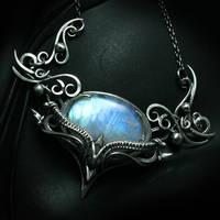 QARTIEELTH Silver and Rainbow Moonstone by LUNARIEEN