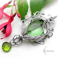 Brooch ZALIA NYAR - Silver and Green Quartz. by LUNARIEEN