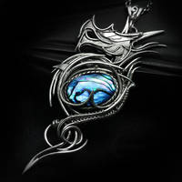 MESSAHX DRACO Silver and Blue Paua Shell by LUNARIEEN