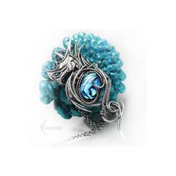MESSAHX DRACO Silver and Blue Paua Shell by LUNARIEEN