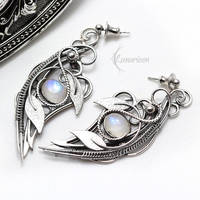 Earrings AXELTIEER - Silver and Moonstone by LUNARIEEN