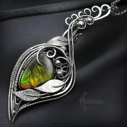 Necklace FHARNIRL - Silver and Ammolite by LUNARIEEN