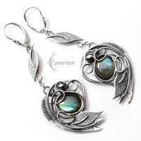 Earrings EZTHEYRA - Silver and Labradorite by LUNARIEEN