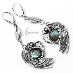 Earrings EZTHEYRA - Silver and Labradorite by LUNARIEEN