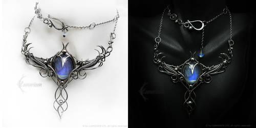AZERRTIAL LUNA Silver, Rainbow Moonstone, Opalite by LUNARIEEN